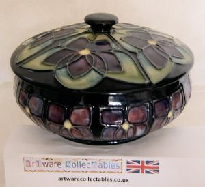 Moorcroft Pottery Sally Tuffin 'Violet'  Powder Bowl - 1980s - SOLD